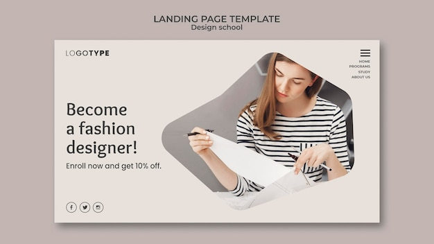 Modello di scuola di design di moda pagina di destinazione