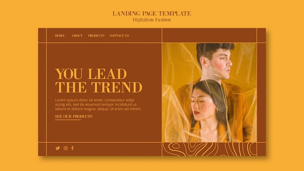 Landing page for fashion lifestyle
