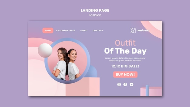 Landing page for fashion retail store
