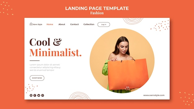 Landing page for fashion shopping store