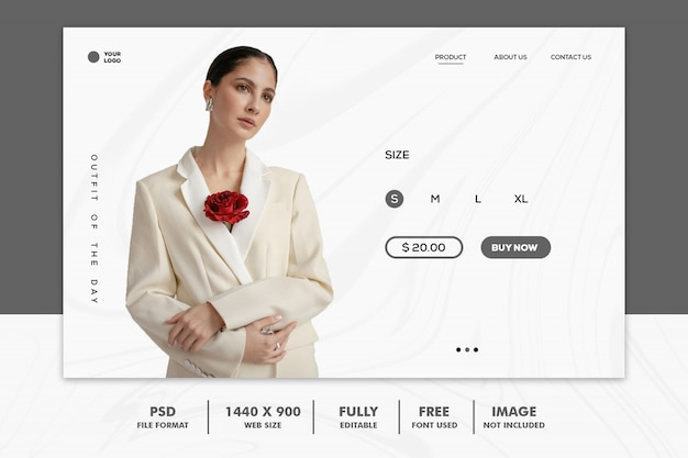 Целевая страница мода веб белый элегантный