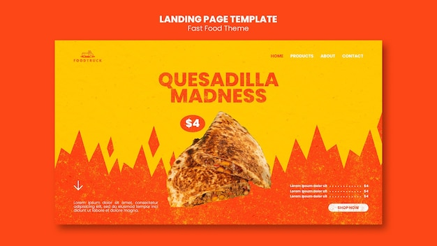 Landing page for fast food restaurant