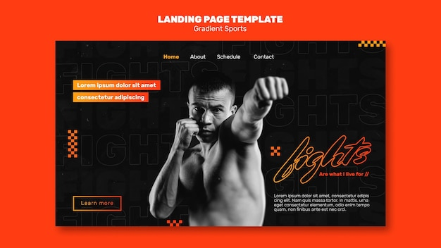 Landing page fighting sports template