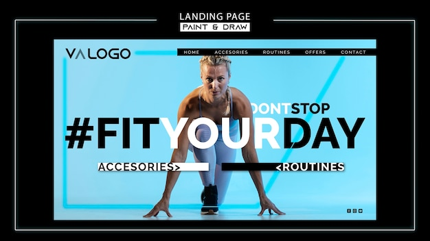 Landing page for fitness training