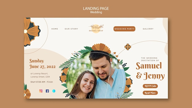 Landing page for floral wedding with leaves and couple