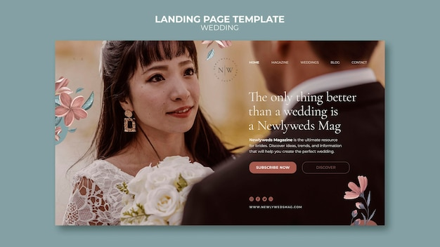 Landing page for floral wedding