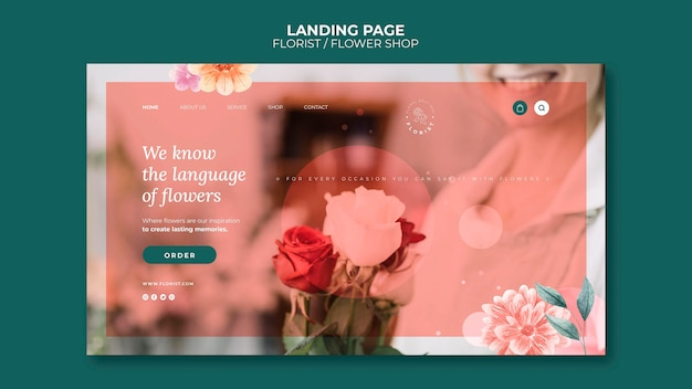 Landing page for flower shop business