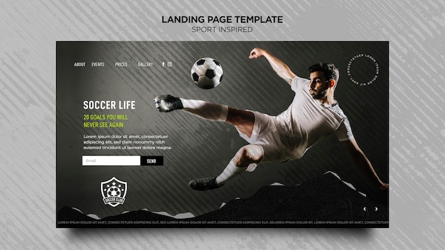Landing page for football club