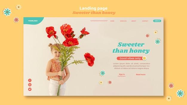 花を持つ子供のためのランディングページ