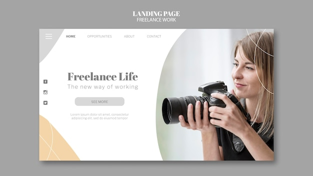 여성 사진 작가와 함께하는 프리랜서 작업을위한 랜딩 페이지