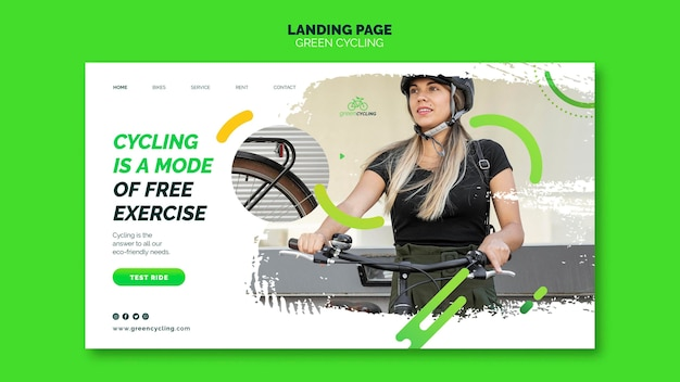 Целевая страница для зеленого велосипеда
