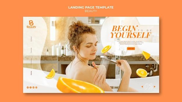 Целевая страница домашнего спа-ухода за кожей с женщиной и дольками апельсина