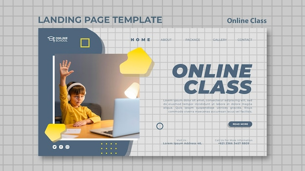 자녀가있는 온라인 수업을위한 방문 페이지 무료 PSD 파일