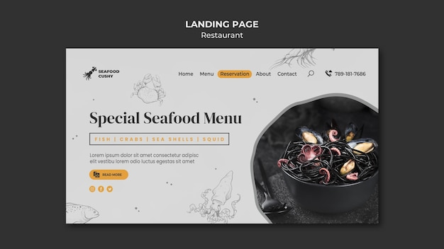 ムール貝と麺のシーフードレストランのランディングページ