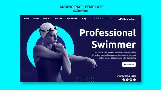 여성 수영 선수와 함께 수영하기위한 방문 페이지