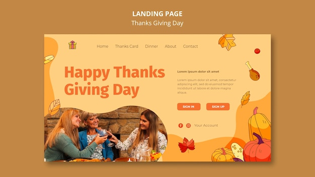 感謝祭のお祝いのランディングページ