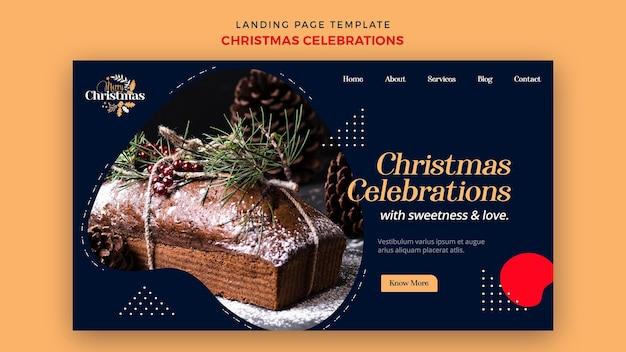 伝統的なクリスマスデザートのランディングページ