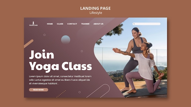 ヨガの練習と運動のためのランディングページ