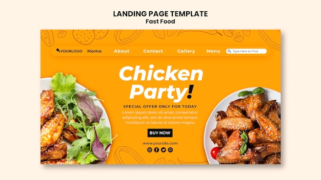 Landing page for fried chicken dish
