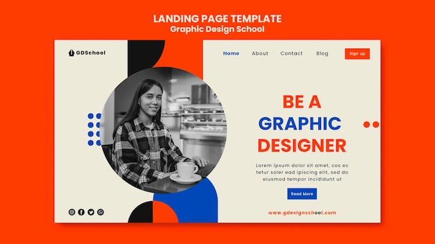 Landing page for graphic design school