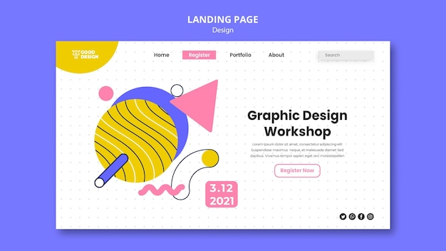 Landing page for graphic design