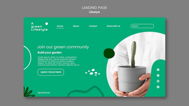 Landing page for green lifestyle with plant