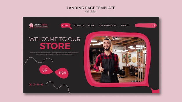 Landing page for hair salon