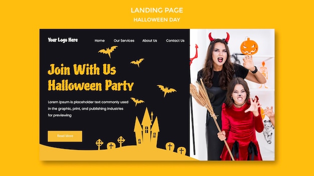 Landing page halloween party template