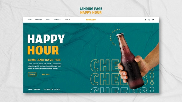 Landing page for happy hour
