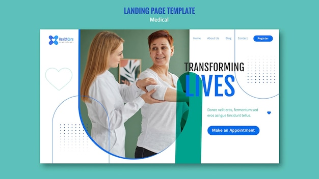 Landing page for healthcare