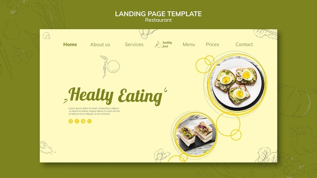 Landing page for healthy breakfast with sandwiches