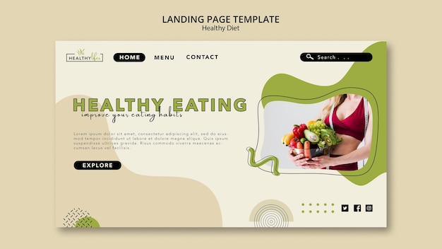 Landing page for healthy diet with vegetables