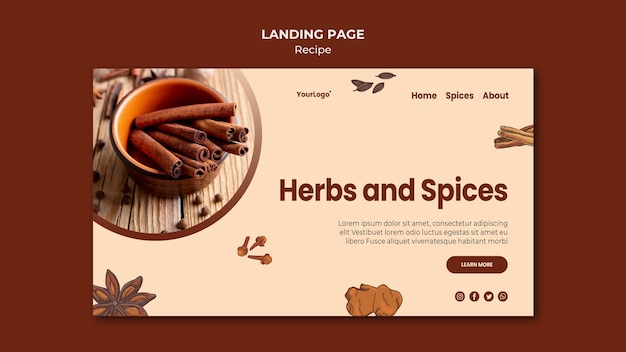 Landing page herbs and spices template