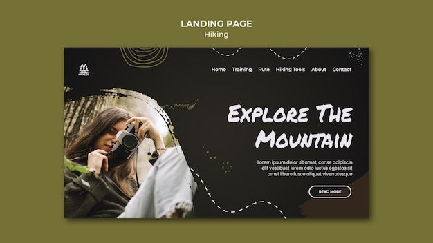 Landing page hiking ad template