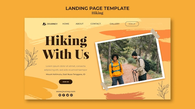 Landing page for hiking