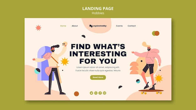 Landing page for hobbies and passions