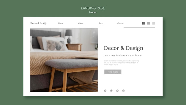 Landing page for home decor and design