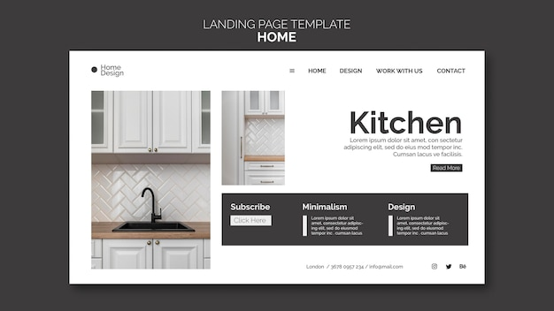 Landing page for home interior design with furniture