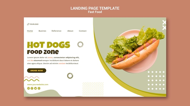 Landing page for hot dog restaurant