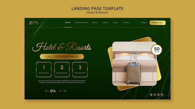 Landing page for hotel and resort