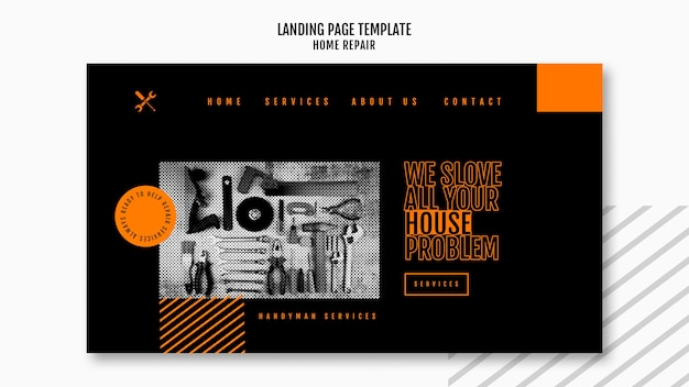Landing page for house repair company