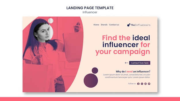Landing page influencer template design