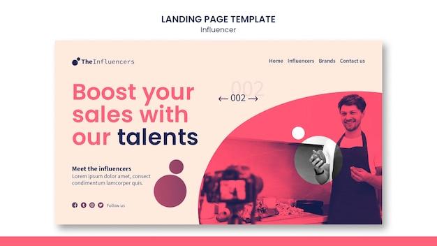 Design del modello di influencer della pagina di destinazione