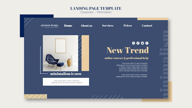 Landing page for interior design