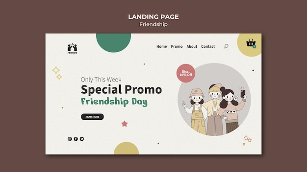 Landing page for international friendship day with friends