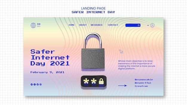 Landing page for internet safer day awareness
