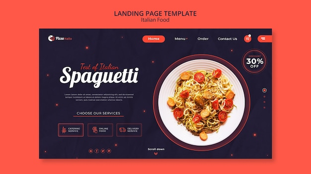 Landing page for italian food restaurant