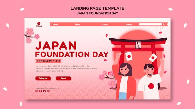 Landing page for japan foundation day with flowers Premium Psd