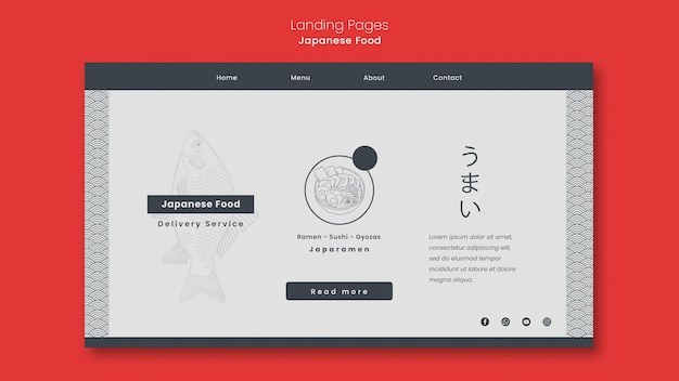 Landing page for japanese food restaurant