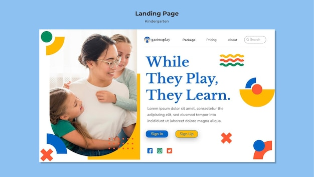 Landing page for kindergarten with children